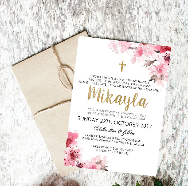customisable unique floral christening invitation