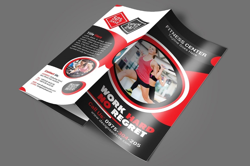 customizable fitness tri fold brochure design