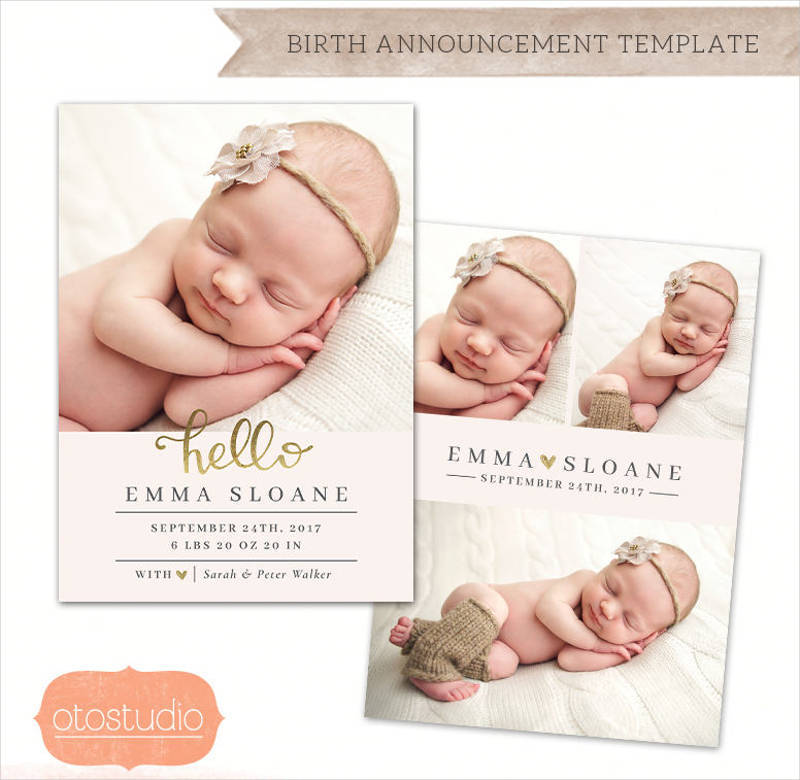 cute baby birth announcement invitation design1
