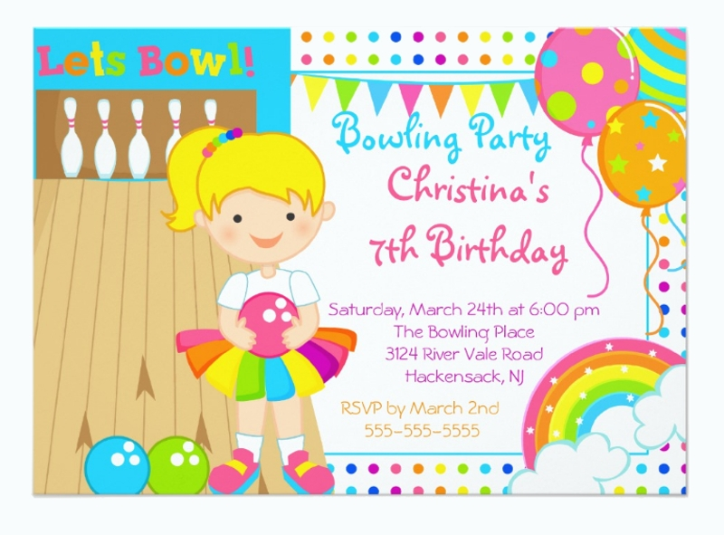cute girls bowling birthday party invitation card