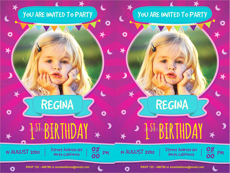 cute kids birthday invitation design template