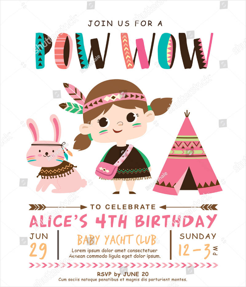 cute kids birthday invitation