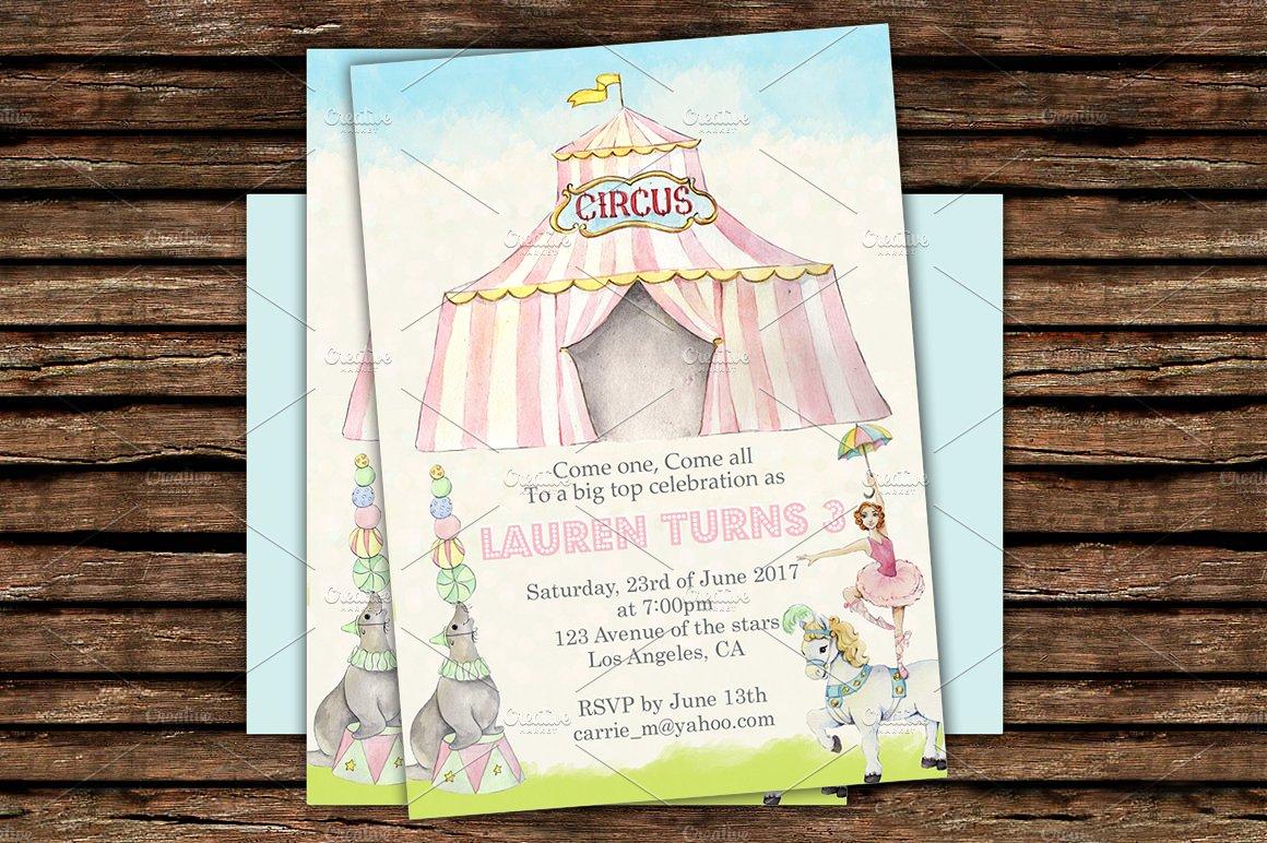 diy circus printable invitation