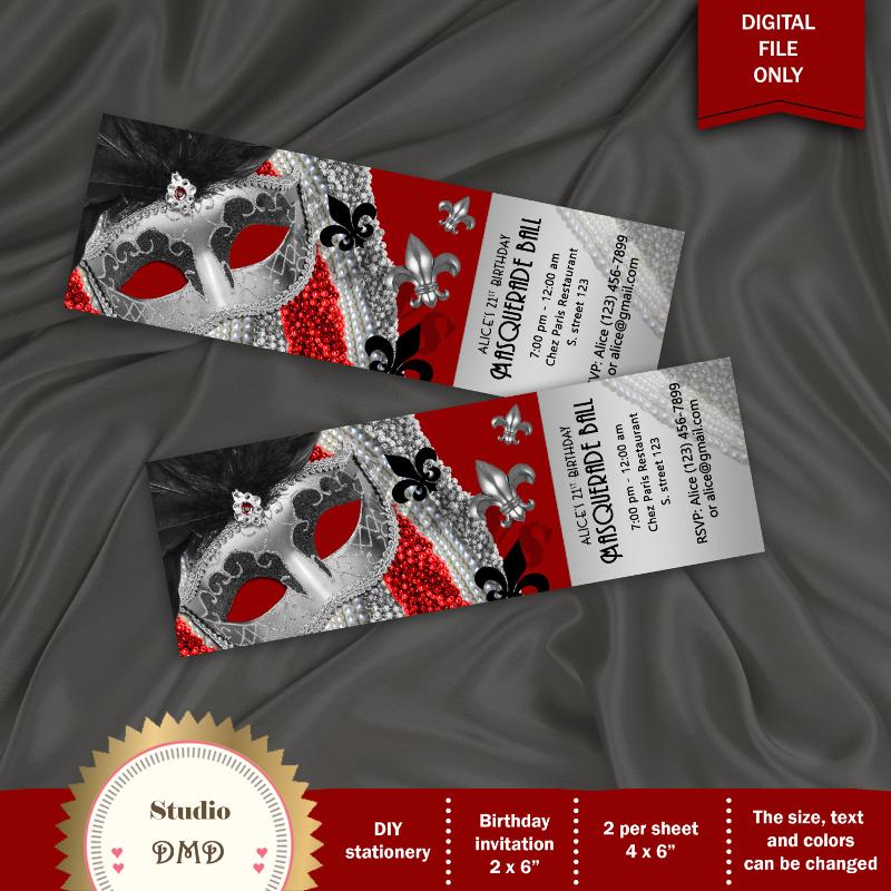 diy masquerade invitation