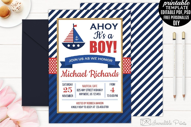 diy nautical baby shower invitation