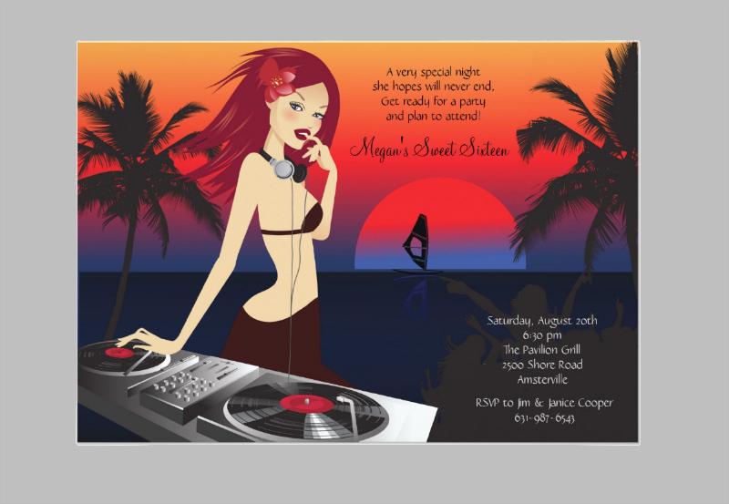 dj beauty party invitation