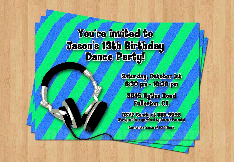 dj boy birthday party personalized invitation