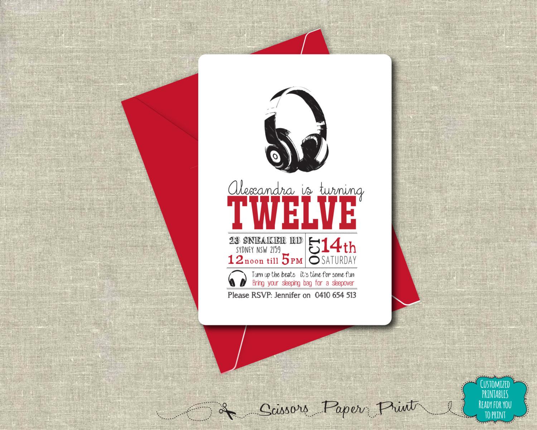 dj headphones party invitation