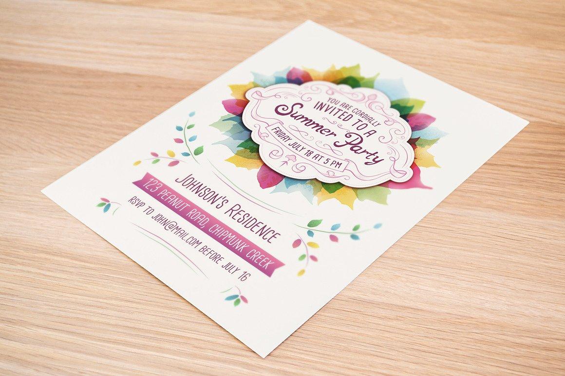 decorative summer party invitation