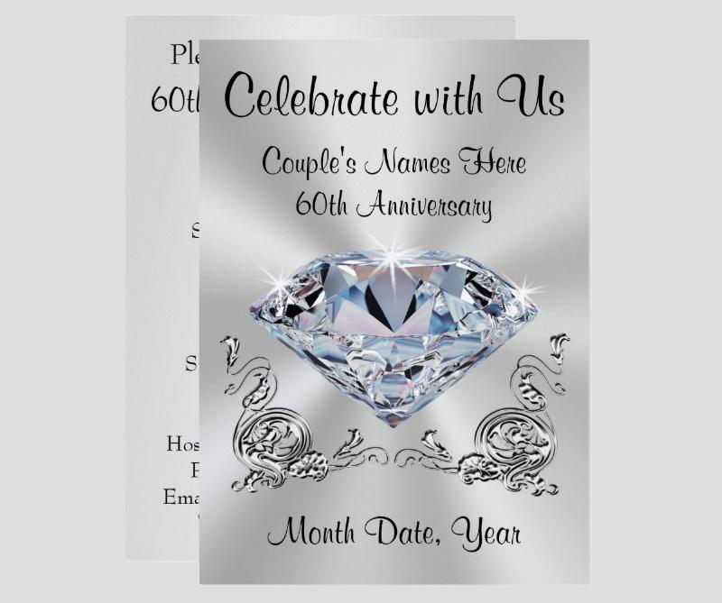 diamond personalized 60th anniversary invitation1