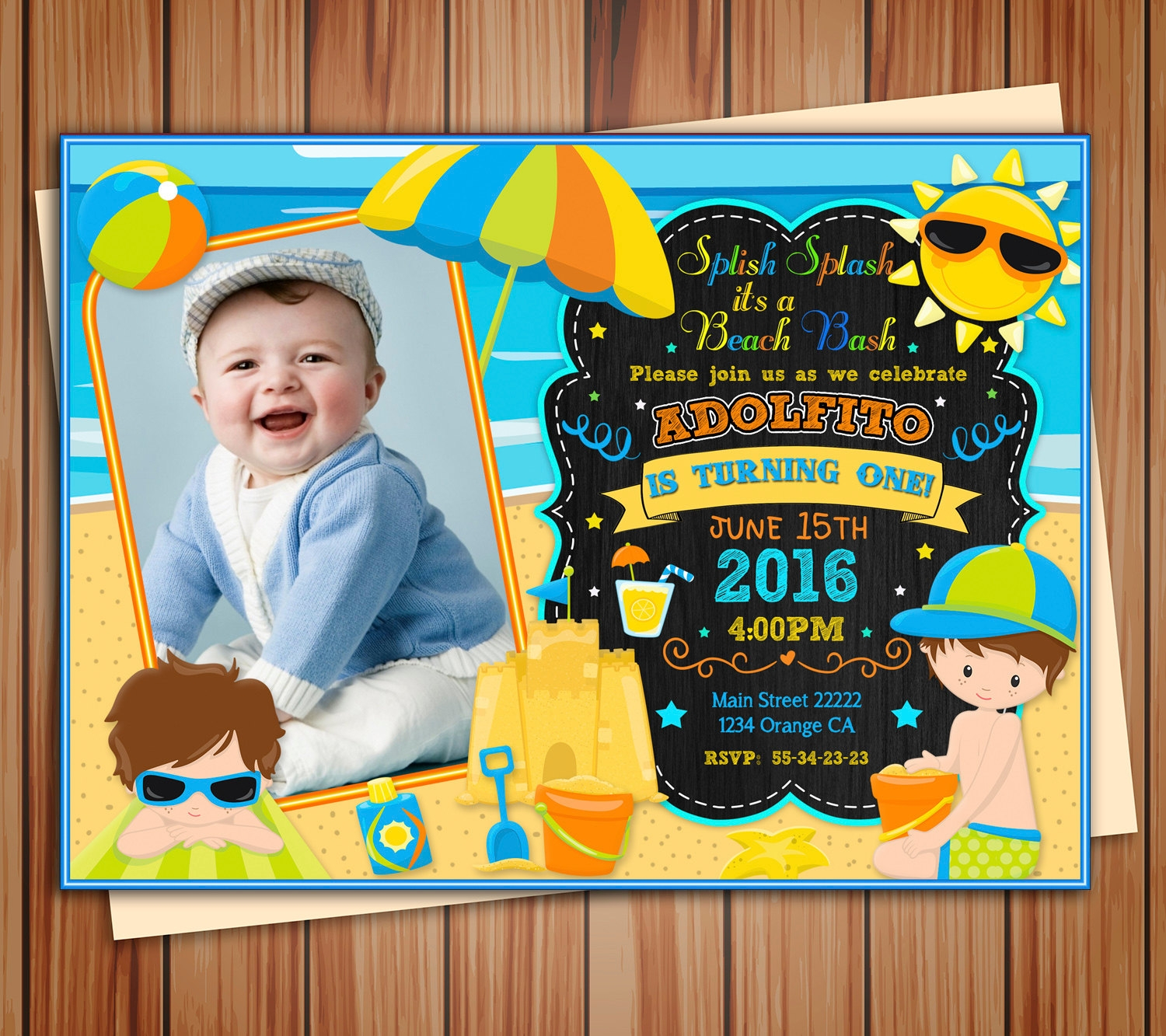 digital chalkboard beach party invitation