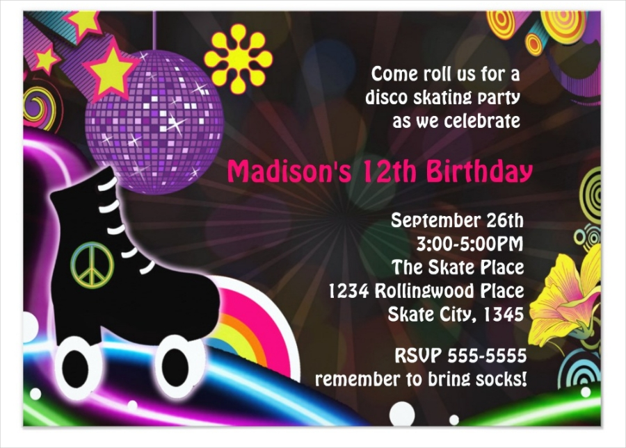 disco glow roller skating skate party invitation