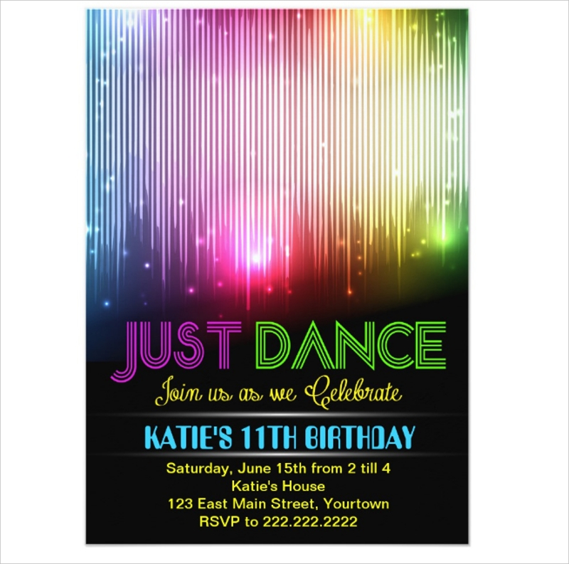 disco just dance party invitation