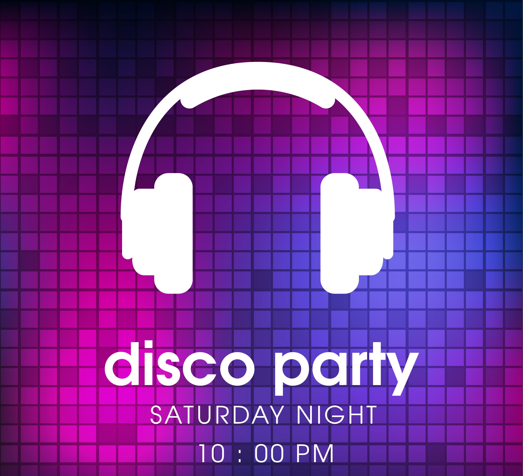disco party poster with headphones