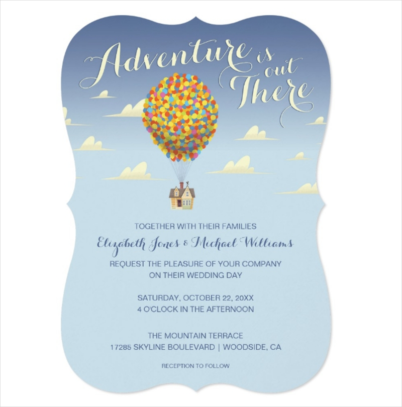 disney pixar up wedding invitation