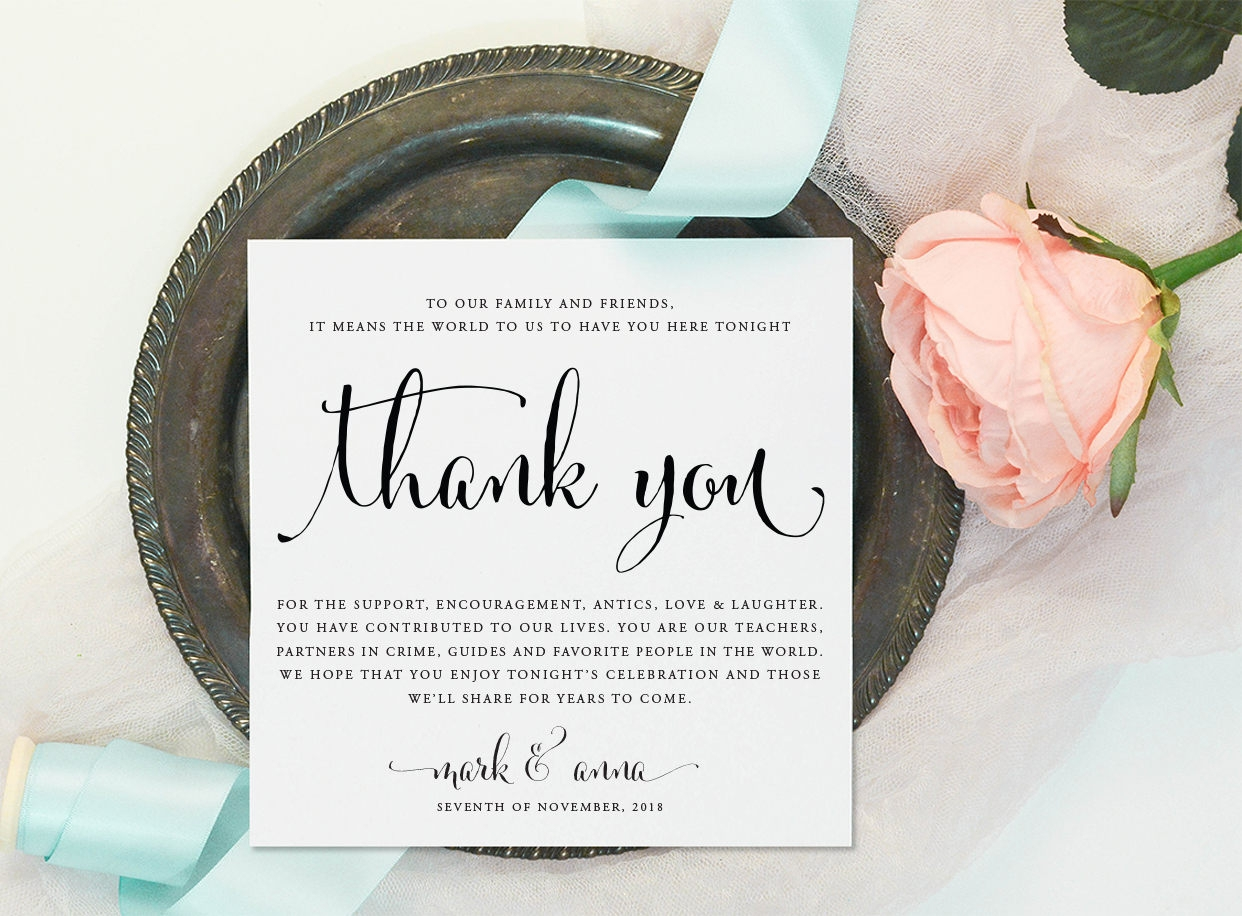 diy thank you reception card
