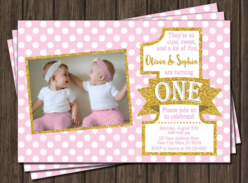 double 1st birthday party invitation
