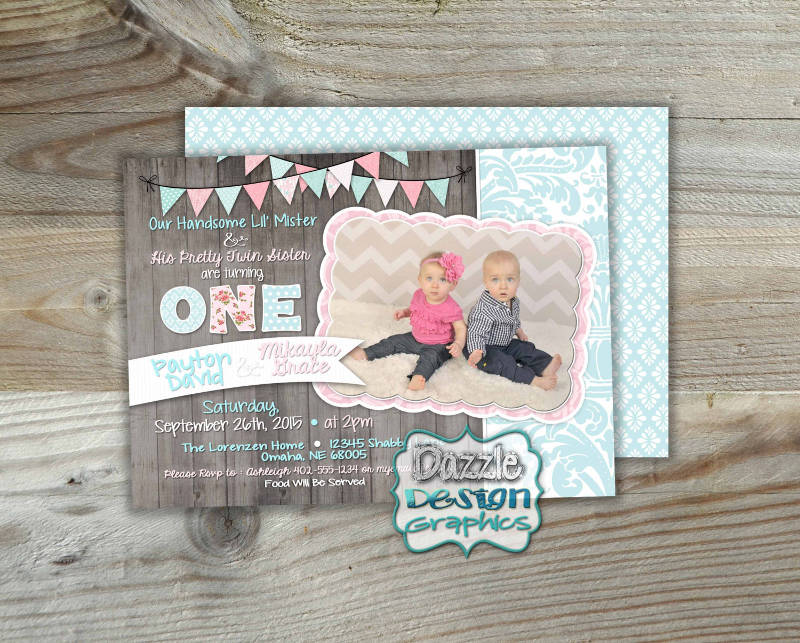 double birthday party invitation design