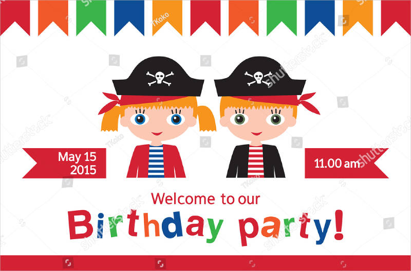 double birthday party invitation illustration