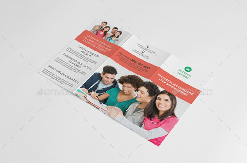 driving school trifold brochure