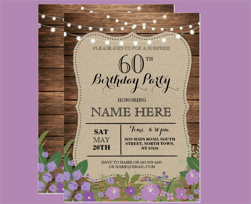 editable 60th birthday invitation