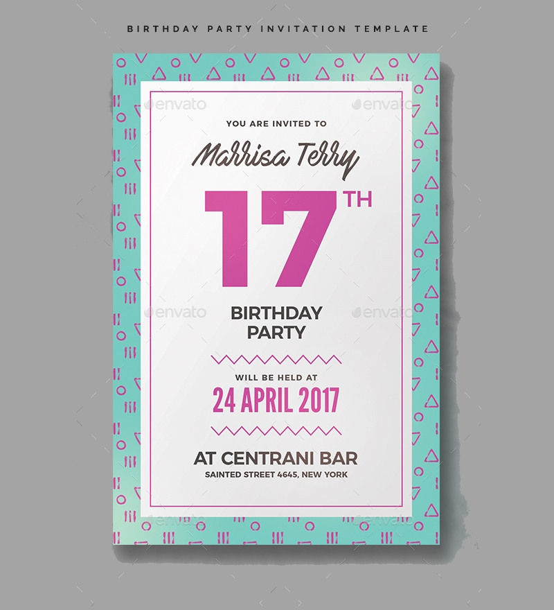 editable birthday party invitation
