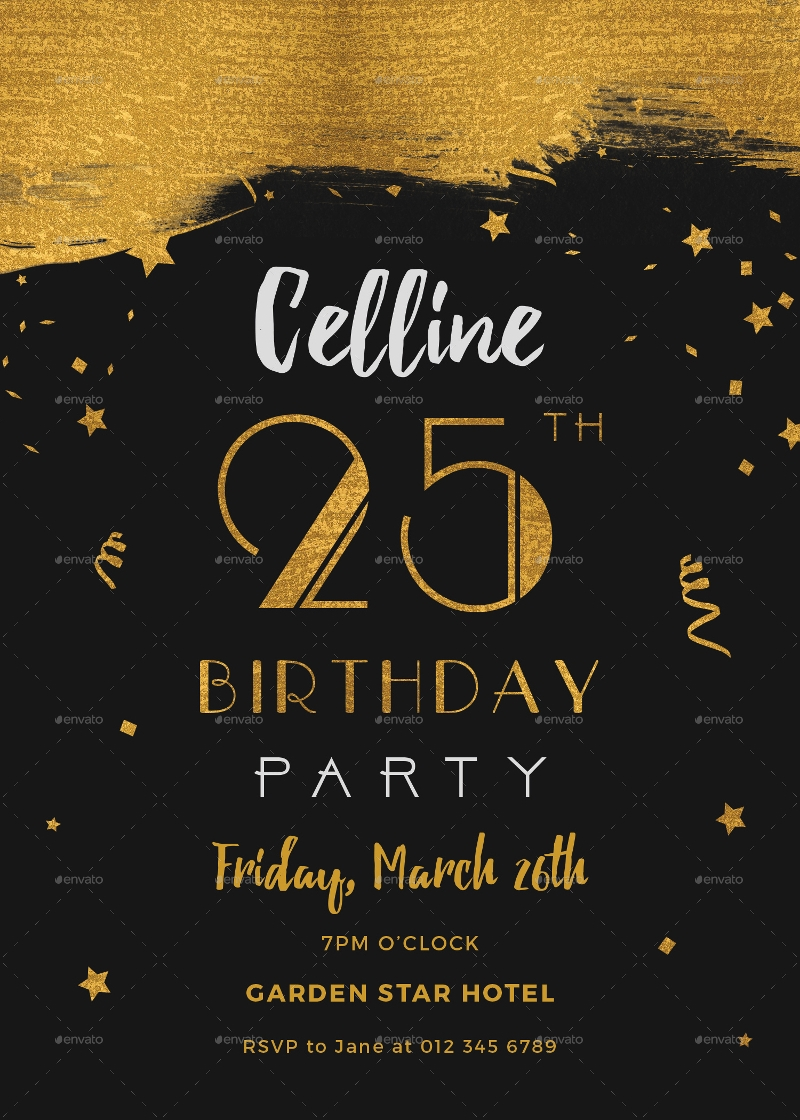 editable black and gold birthday invitation