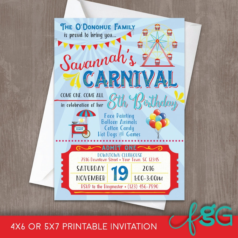 editable carnival birthday invitation