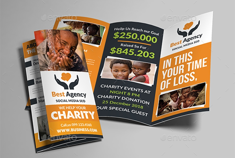 editable charity trifold brochure