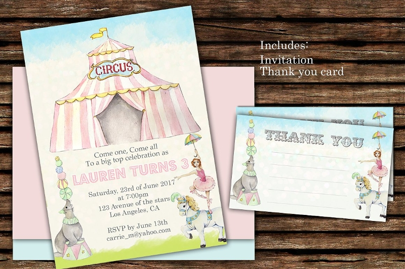 editable circus birthday invitation