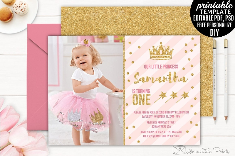 editable girl birthday party invitation