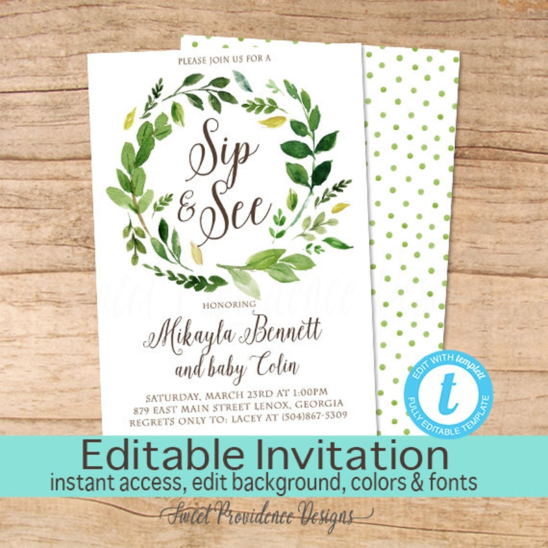 editable sip and see invitation