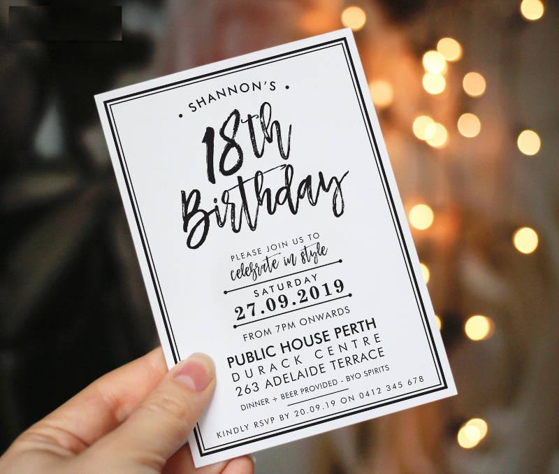 eighteenth birthday party invitation