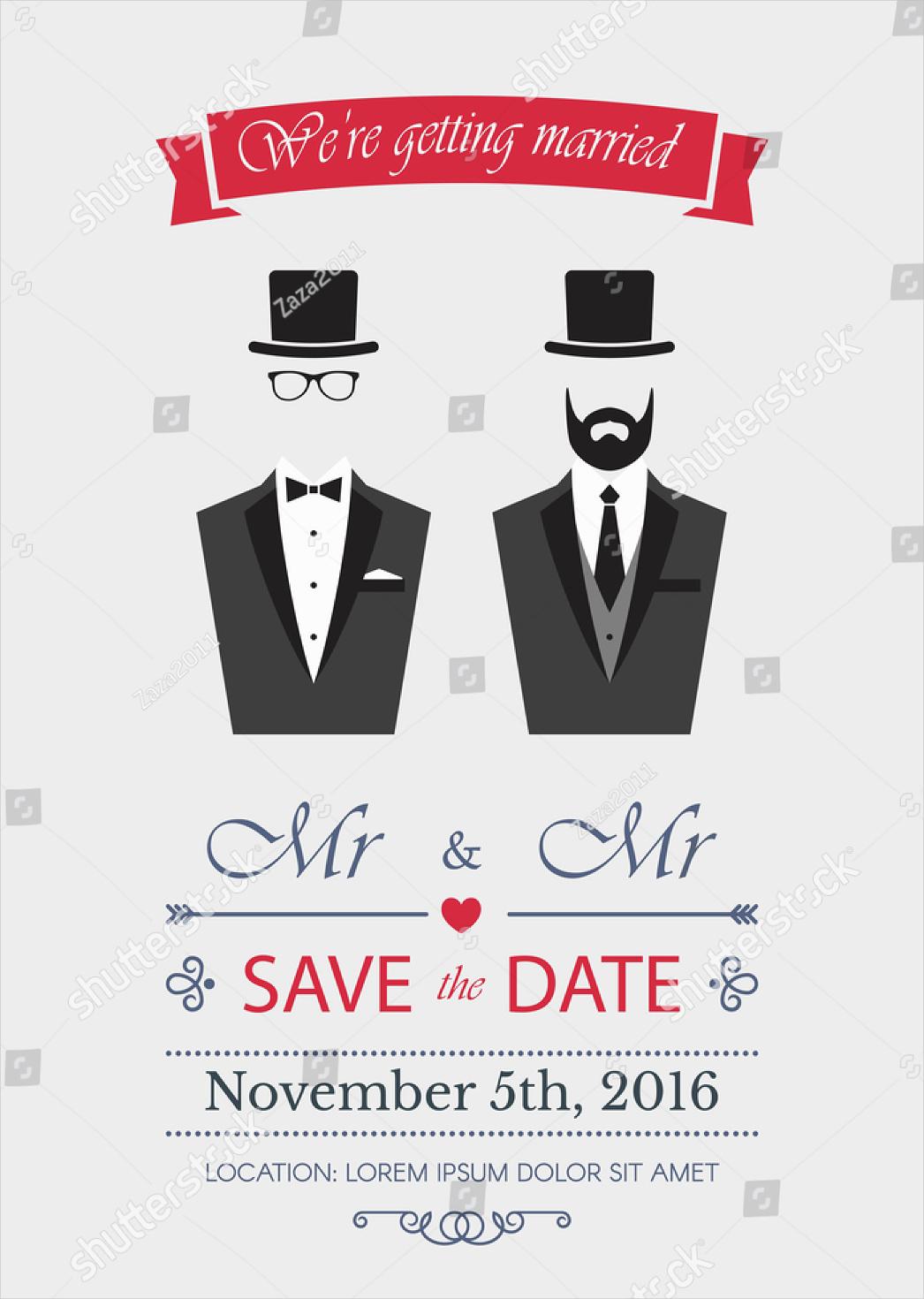 elegance illustration gay wedding invitation