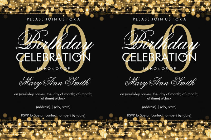 elegant 50th birthday party invitation card