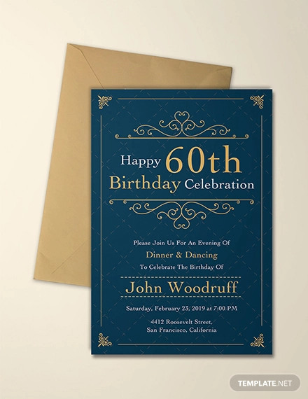 elegant 60th birthday invitation template