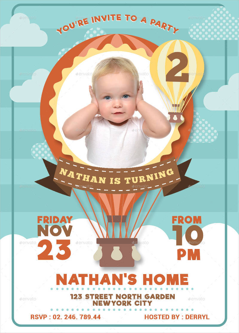 Elegant Baby Birthday Invitation In PSD