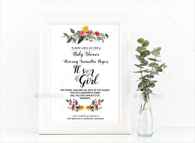 elegant baby girl shower invitation1