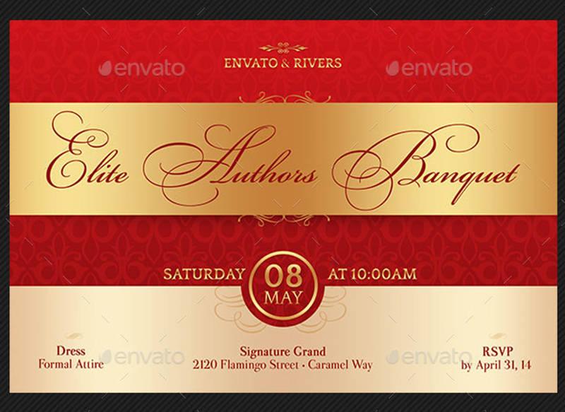elegant banquet invitation postcard template