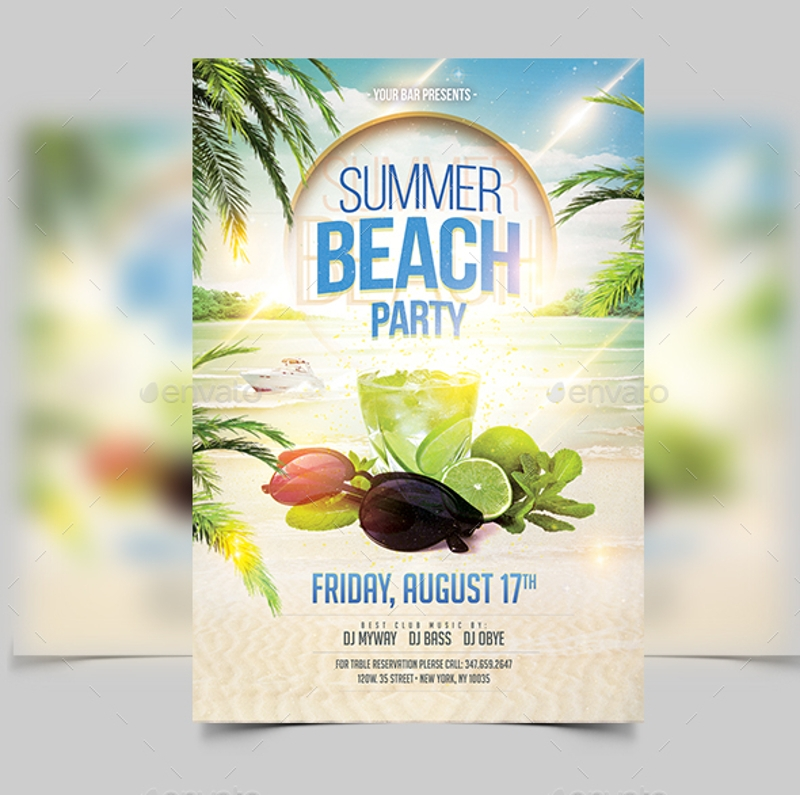 elegant beach party invitation