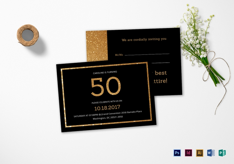elegant black and gold 50th birthday invitation template