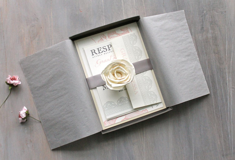 elegant box wedding invitation