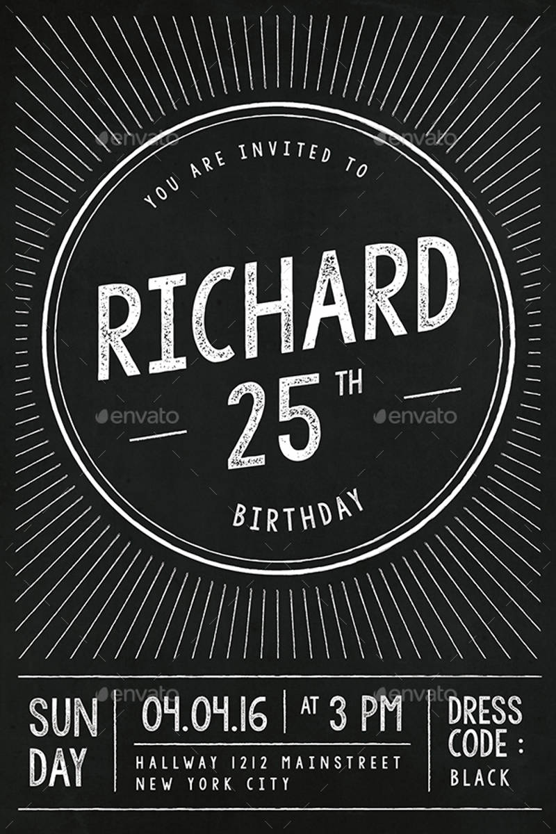 elegant chalkboard birthday invitation