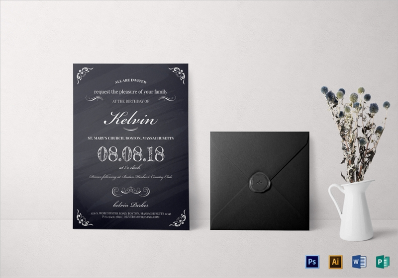 elegant chalkboard birthday party invitation