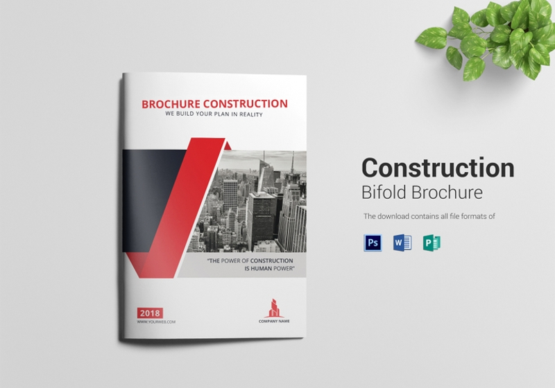 elegant construction bi fold brochure template