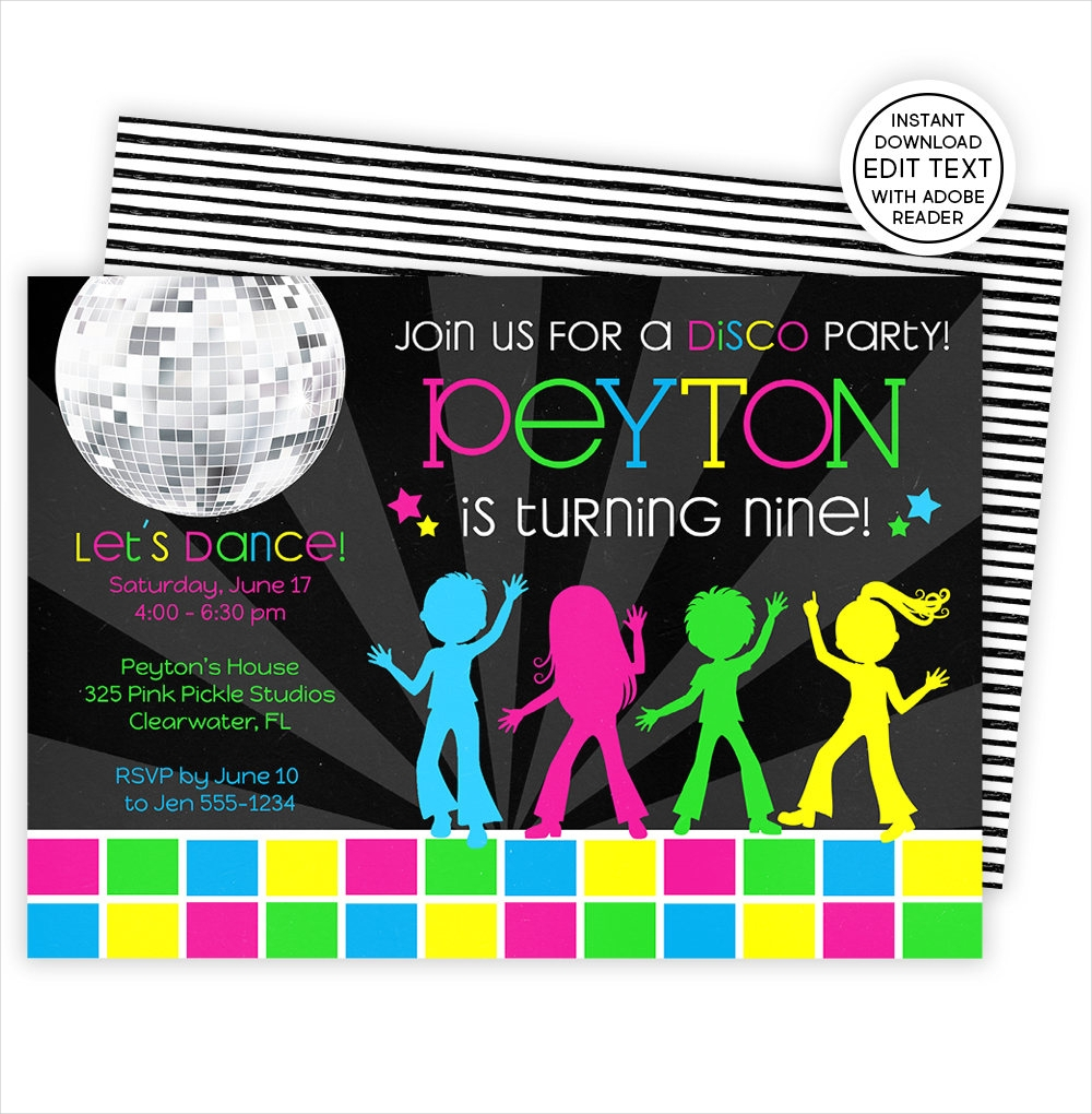 elegant disco dance party invitation