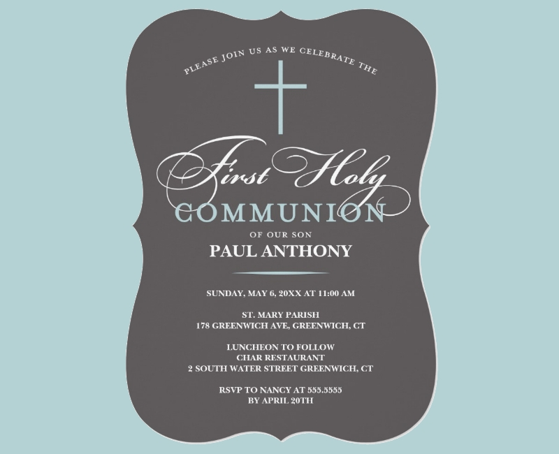 elegant first holy communion invitation