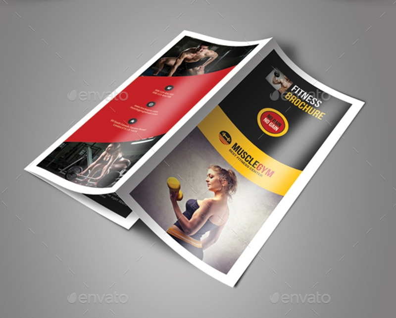 elegant fitness trifold brochure design