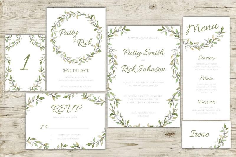 elegant green botanical invitation