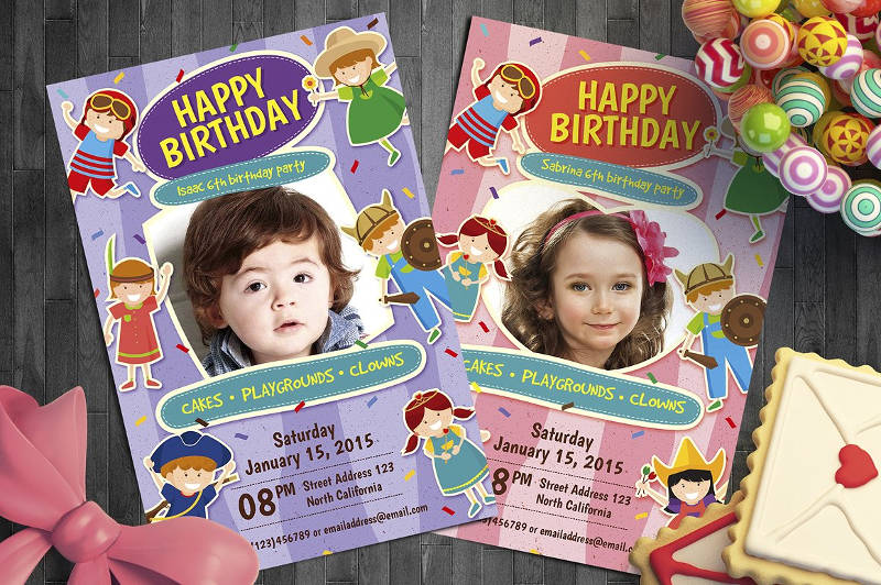 elegant kid birthday invitation